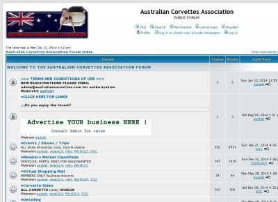 Australian Corvettes Association Forum
